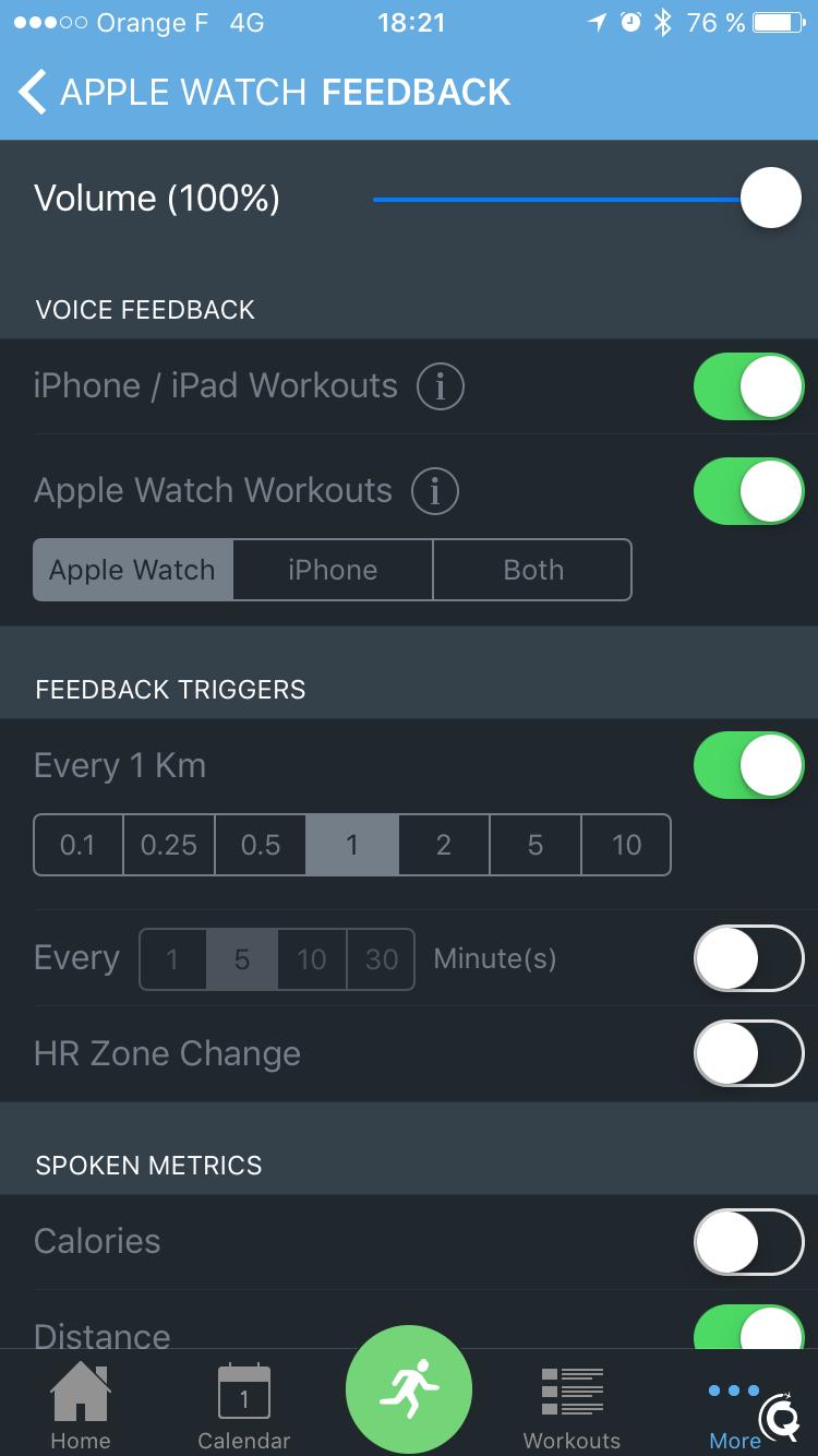 Les réglages du retour audio de l'Apple Watch
