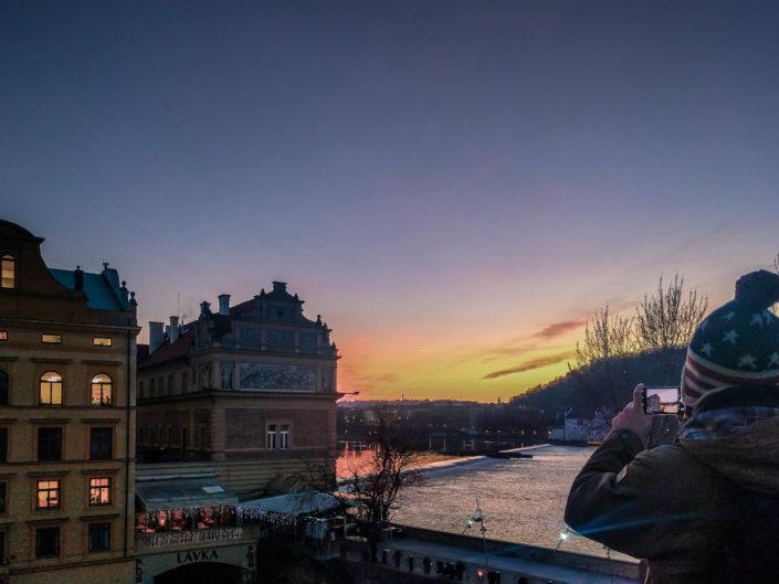 Coucher de soleil à Prague