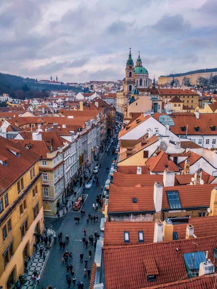 Vue sur le quartier Malá Strana à Prague