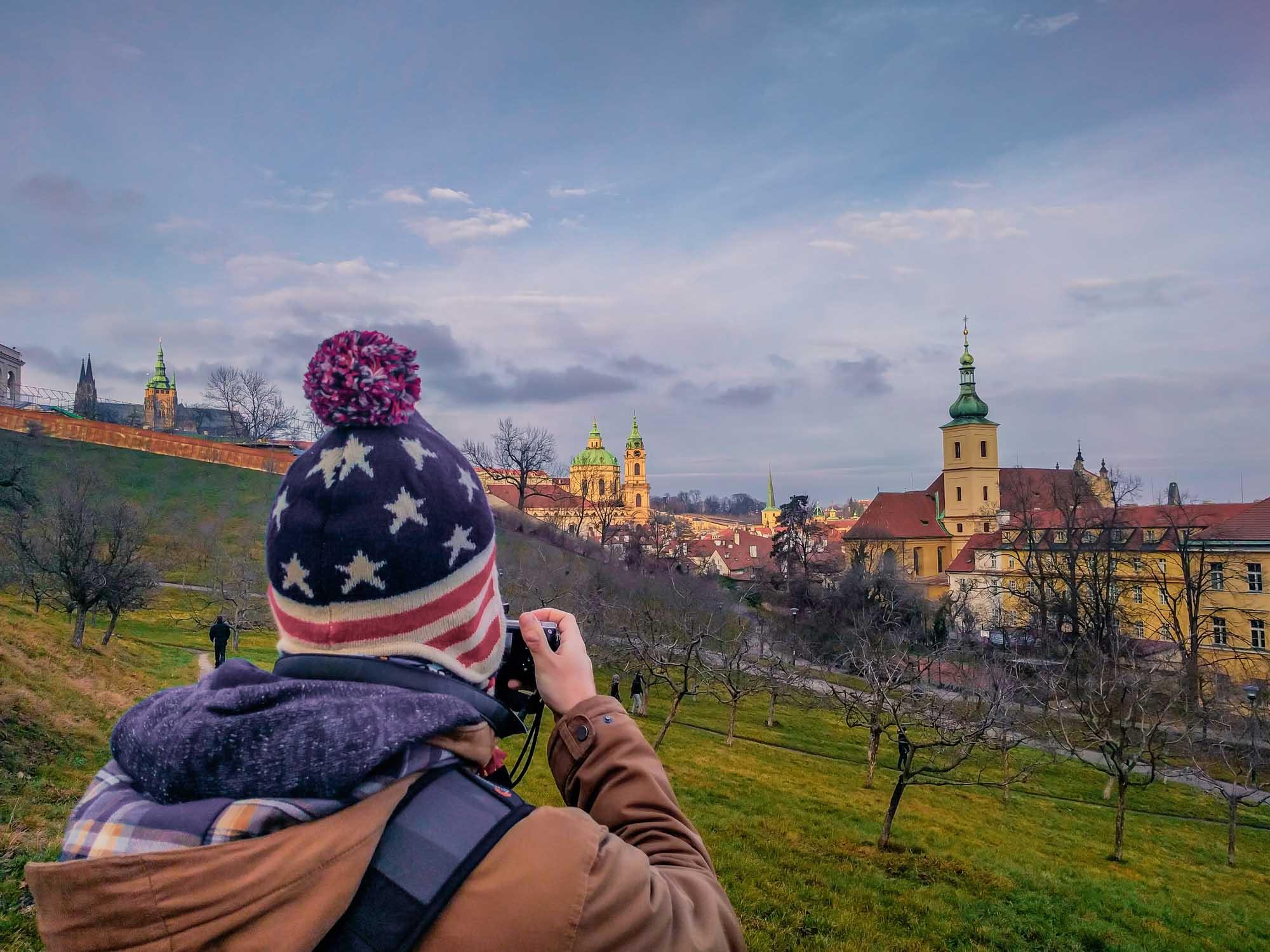 Le photographe photographié ! Admirez ce splendide bonnet, souvenir des States.