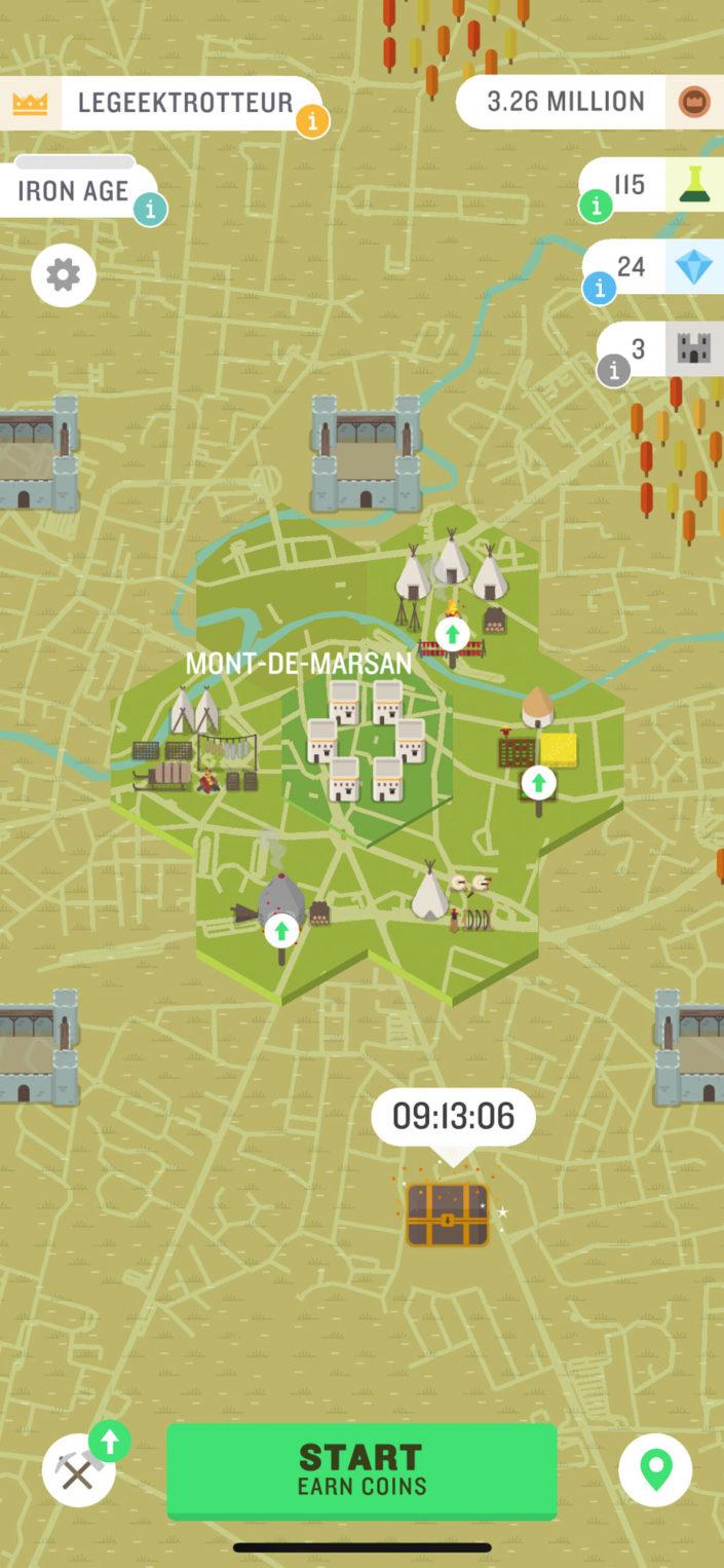 Interface de base de l'application Run an Empire