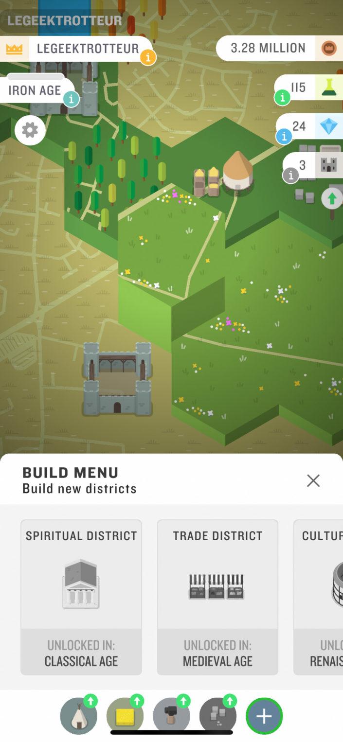 Le menu pour construire des nouveaux territoires