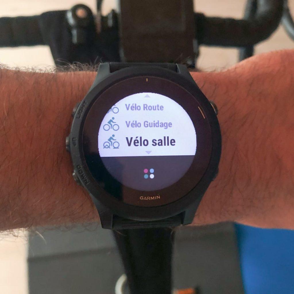 Le profil Vélo Salle qui permet de connecter la montre au home-trainer